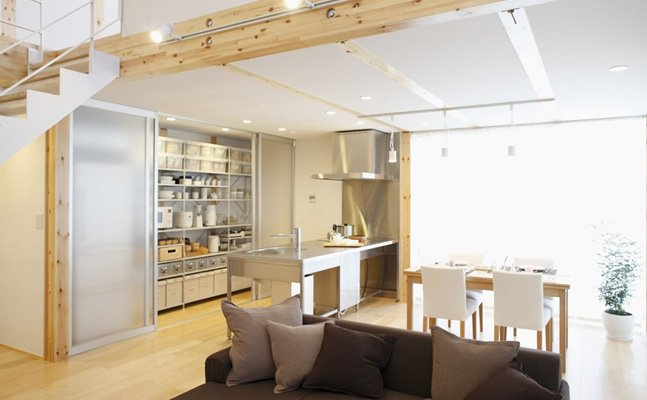 open plan living with concealed storage