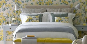Traditional-bedroom-with-yellow-floral-wallpaper-ideal-home-house-to-home