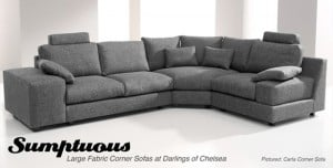 NEW: Sumptuous Large Fabric Corner Sofas at Darlings of Chelsea