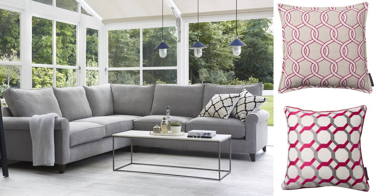 Grey and pink get the look darlings of chelsea interior Red and grey sofa