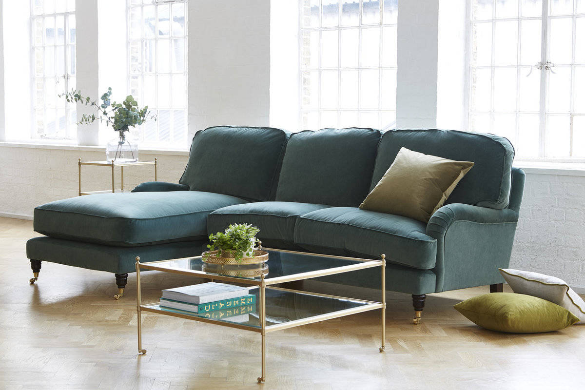 Clara green chaise sofa