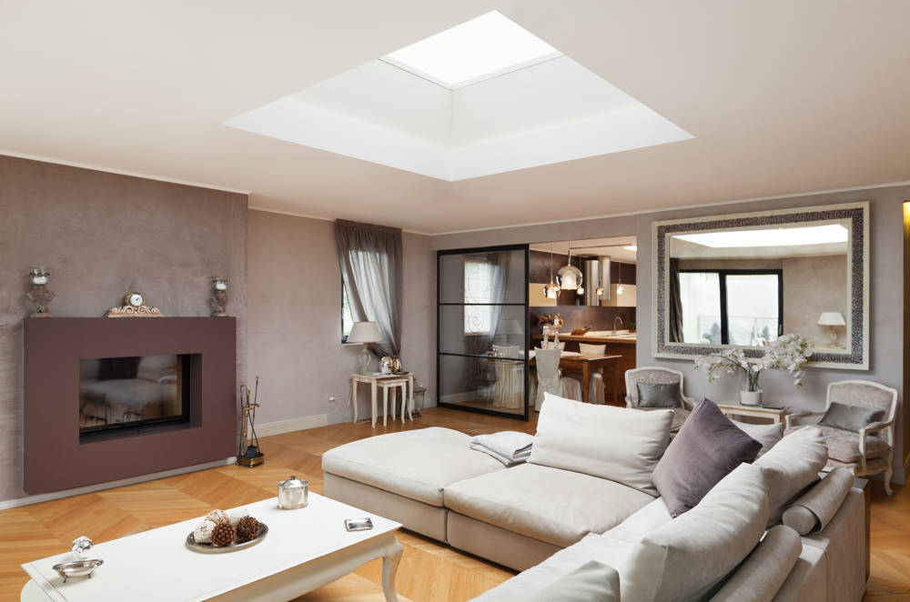 Beige and taupe open plan space