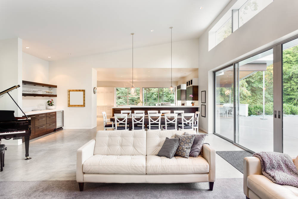 Beige and white open plan space