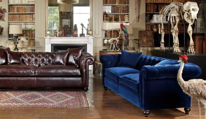 Connaught Grand Sofas In Clyde Chestnut (L1) And La Scala Royal Blue (Range