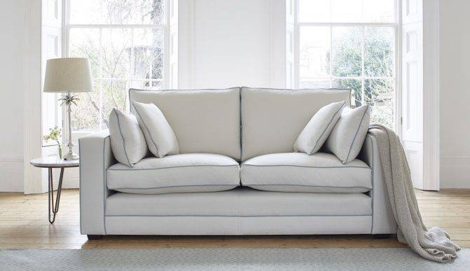 Georgie Sofa with foam and feather seat cushion.